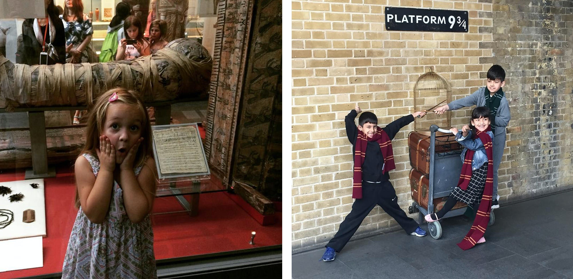 In London with children? Take them to the British Museum or to take that famous photo at the Harry Potter's world famous Platform.